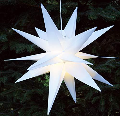 Guru-Shop 3D Außenstern Kaspar, Ø 55 cm, Weihnachtsstern, Faltstern mit 18 Spitzen Incl. 7 m Kabel & LED Leuchtmittel - Trafo Weiß, Plastik, Weihnachtsstern, Adventsstern