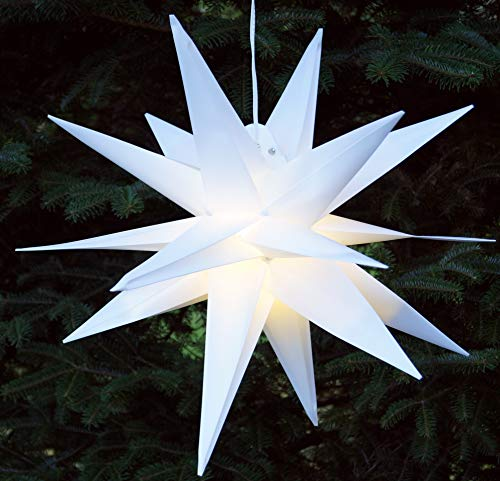Guru-Shop 3D Außenstern, Weihnachtsstern, Faltstern Kaspar Weiß mit LED, Ø Ca.55 cm, Plastik, Weihnachtsstern, Adventsstern