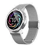 KUKU Smart Watch, Fitness Tracker, con Monitor De Frecuencia Cardíaca, Rastreador De Actividades, con Pantalla Táctil De 1.28 Pulgadas, Pedómetro Impermeable IP68,Plata,1
