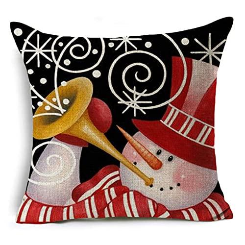 Home Funda de cojín antiarañazos, estilo navideño, lavable, decoración de Navidad, regalo para el hogar, cojín de sofá, 5