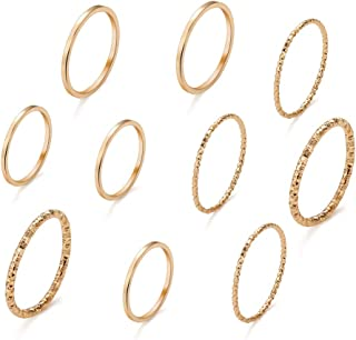 FINETOO 10 Pcs Simple Finger Rings Set Plate Gold/Silver Midi Knuckle Stackable Ring Set for Women Gift