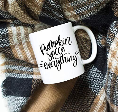 Bru565und - Taza de calabaza y especias, diseño de calabaza con texto en inglés 'Pumpkin Spice All', PSL, taza de otoño, taza de calabaza, taza de café, taza de café con leche, regalo de cumpleaños de Navidad
