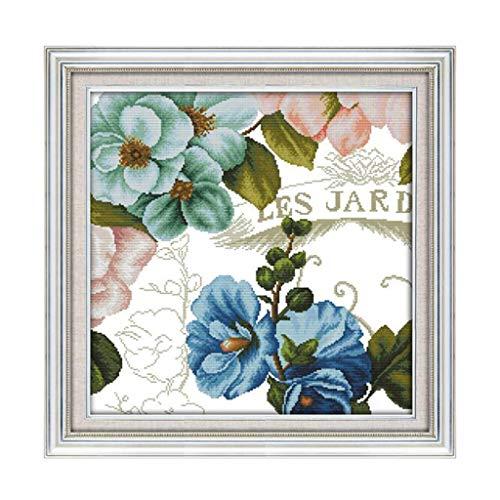 joyMerit Bilder Stickvorlage Kreuzstich vorgedruckt Stickbild Handarbeit Sticken Stickset Orchidee für Erwachsene, Anfänger