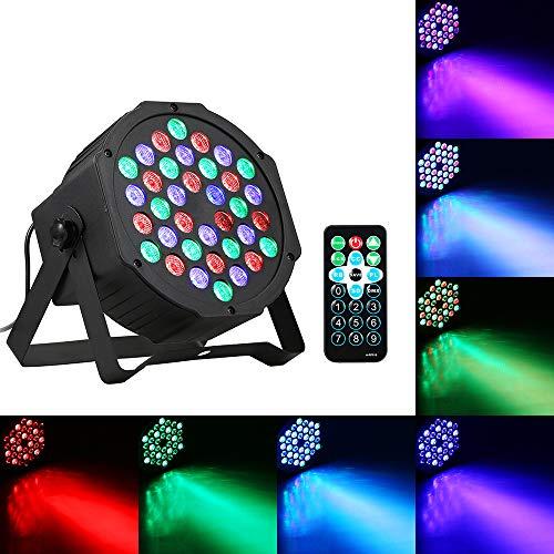 Par Licht, LED podiumlicht Par Light, schijnwerper Par Light, 24W 36 LED's RGB Mini Stage Par Lamp met IR afstandsbediening Ondersteunt geluid geactiveerd / Auto Running / DMX512 / Master Slave