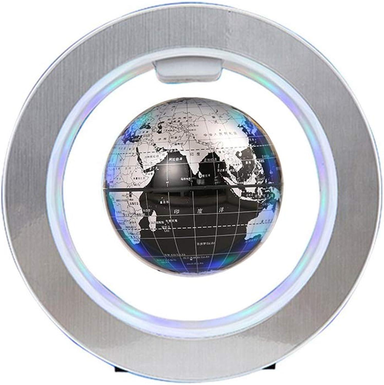 Damoking LED schwimmende Weltkugel, helle Farben praktisches Lehrwerkzeug Studentenwerkzeug Desktop Weltkugel mit LED-Licht Silber