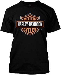 Harley-Davidson Men's Orange Bar & Shield Black T-Shirt 30290591