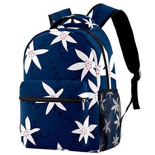 LAZEN Mochila clásica escolar Mochila de viaje ligera Mochila para portátil para mujeres adolescentes hombres Patrón de flores blancas Fondo azul marino