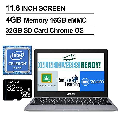 2020 Newest Asus Chromebook 11.6 Inch Laptop, Intel Celeron N3350 up to 2.4 GHz, 4GB RAM, 16GB eMMC, WiFi, Bluetooth, Webcam, Chrome OS + NexiGo 32GB MicroSD Card Bundle (Renewed)