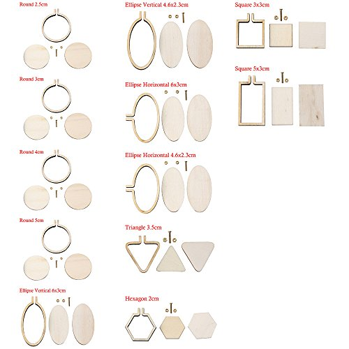 DIY Mini Embroidery Hoop Frame Miniature Embroidery Hoops DIY Tiny Hoop Kit Mini Hoop Frame DIY Necklace Tiny (12pcs differents Size)