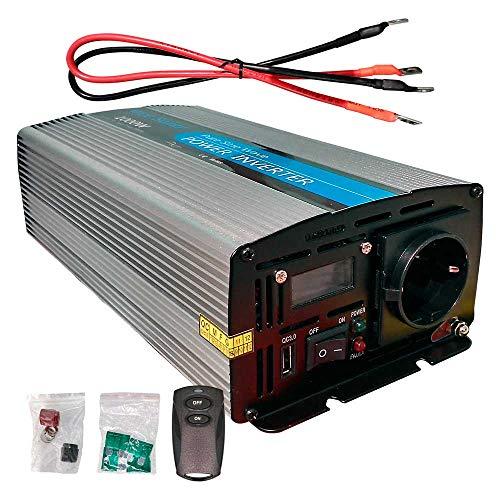 Inversor Onda Pura 1000W Pico 2000w 12v a 220v con Display Cable y Mando Ideal para autocaravanas y Barcos