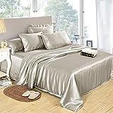 LilySilk 4Pcs Silk Sheets Queen Bedding Set Flat Sheet Fitted Sheet...