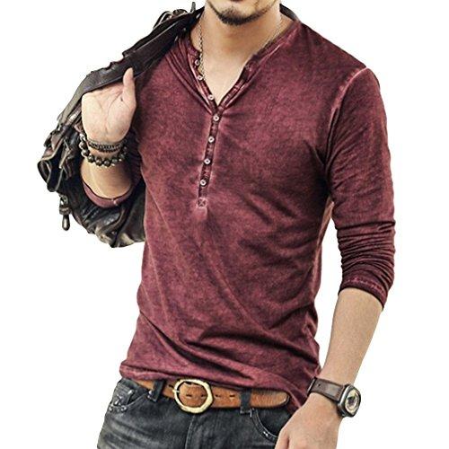Hombre Cuello En V Camisetas Manga Larga Botón En Slim para Camisa Ocio Color Sólido La Moda Blusa Superior Retro Henley Camisas 3 Colores M-3XL