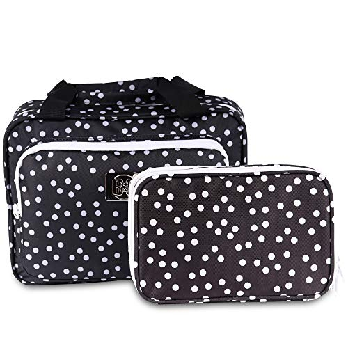 Set Of Large Hanging Travel Toiletry Cosmetic Bag For Women and Jewelry Travel Organizer Bag With Many Pockets Set in Black Polka Dot