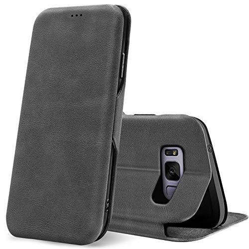 Verco Funda para Samsung Galaxy S8 Plus, Flip Libro Premium Carcasa [Cierre Magnético] Funda Protectora para Samsung S8+ Case, Gris