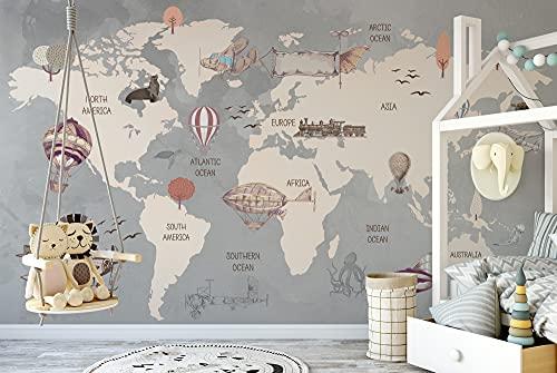 Murwall Kids World Map Wallpaper for Boys Vintage Map Wall Murals Old Aircraft Hot Air Balloon Wall Print Nursery Maps