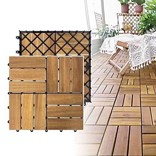 NAIZY Baldosas de madera de acacia para terraza, 30 x 30 cm, aspecto de madera, azulejos de balcón con drenaje y baldosas de clic para jardín, terraza, balcón (modelo B, tamaño: 22 unidades, 2 m²)