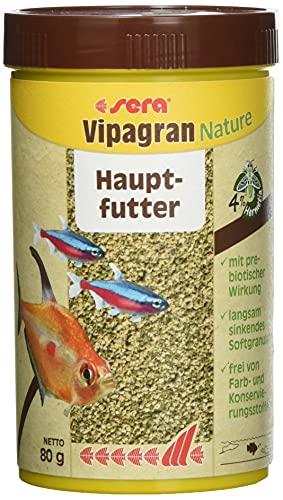 Sera Vipagran Nature Alimento Principal en Forma de granulado Blando con un 4% de harina de Insectos, 250 ml, 250