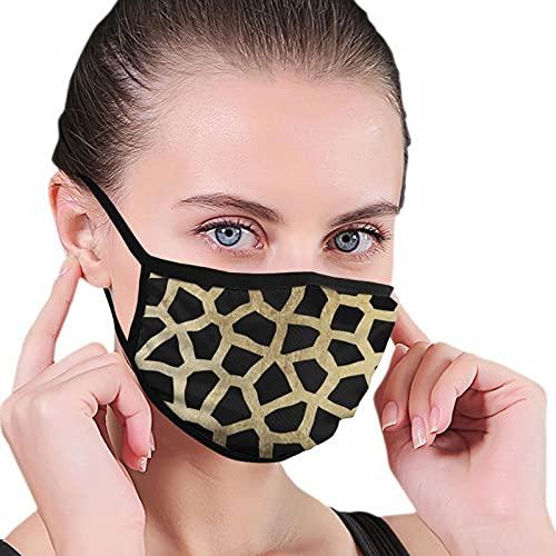 Elegante falso oro y negro moderno animal print Escudo facial bufanda cara bufanda hombres mujeres lavable anti-polvo unisex