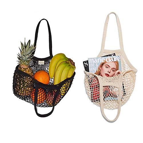 EDCV 2pcs Eco Friendly Cotton Mesh Tote Bag, Reusable Produce Cotton Mesh Bag, Natural Cotton Net String Shopping Tote Bag, Mesh Bags Reusable Cotton Mesh Grocery Bags (Milky White+Black)
