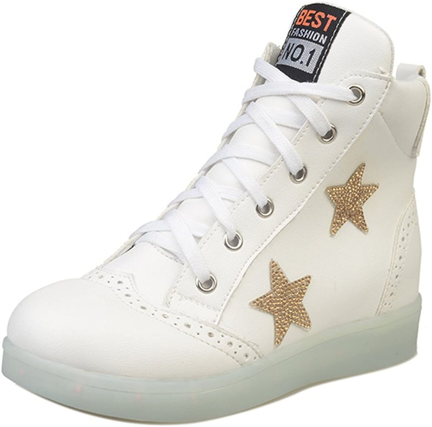 A2kmsmss5a Cool High Top USB Charging LED shoes Flashing Sneaker for Women Girls
