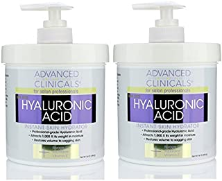 Advanced Clinicals Anti-aging Hyaluronic Acid Cream for face, body, hands. Instant..