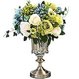 FOTGL Elegante Ramo de Flores Artificiales con jarrón de Vidrio Decoración de Oficina en casa Decoraciones de Boda