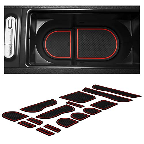 CupHolderHero fits Subaru Impreza WRX STI Accessories 2008-2014 Premium Interior Non-Slip Anti Dust Cup Holder Inserts, Center Console Liner Mats, Door Pocket Liners 15-pc Set (Red Trim)