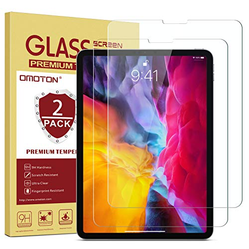 OMOTON [2 Pack] Screen Protector Compatible with iPad Pro 11 2020 2018 (1st and 2nd Generation) [Work with Face ID & Apple Pencil] - Tempered Glass/High Definition / 9H Hardness