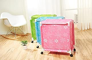 HOMIES INTERNATIONAL Multipurpose European Style Floral Design Foldable Trolley Laundry Basket with Wheels and Lid (Medium...