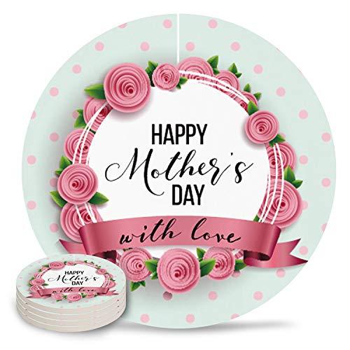 Posavasos de cerámica para bebidas, Happy Mother Day with Love Floral Pointed Stone Absorbente de cerámica con parte trasera de corcho para tipos de tazas y tazas, posavasos de mesa redonda rosa (juego de 4/6/8), cerámica, Día de la Madre6927, 6-Piece Set