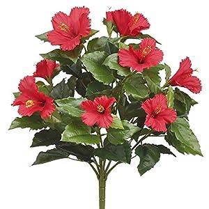19″ Silk Hibiscus Flower Bush -Red (Pack of 6)