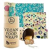 Envoltorio Cera Vegana para Alimentos; Set de 6 Vegan Vax Wrap Natural de Tela; Papel Bocadillo Reutilizable Vegano; Cubiertas Lavables para Cuenco Ecológica; Zero Waste Alternativa para Queso, Fruta