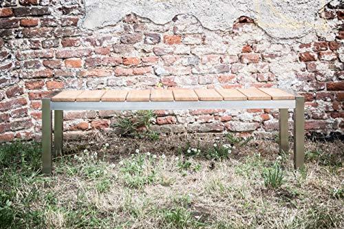 Greemotion Gartenbank SAN Diego aus Teak Holz-2 Sitzer Holzbank ohne Lehne-Garten Sitzbank wetterfest-Teakholz Bank massiv mit Edelstahl für draußen, Braun, 15,2 x 5 x 1,4 cm - 10