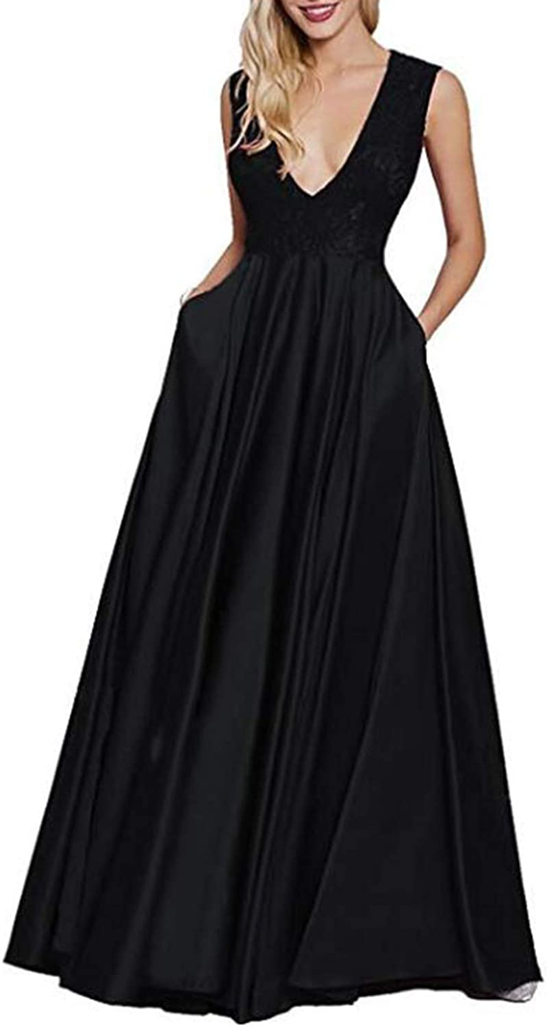 Alilith.Z Sexy Deep V Neck Prom Dresses Long Formal Lace Evening Dresses Party Gowns for Women with Pockets