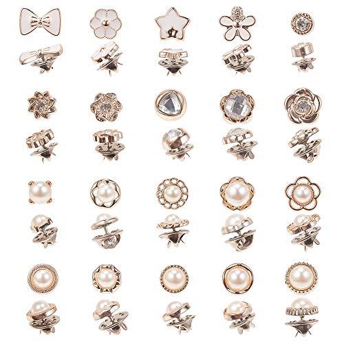 PandaHall 80pcs 20 Stili Camicia Spilla Bottone Spille con Smalto di Sicurezza con Spille di Ferro per Donna Forniture per Abbigliamento, Bianco