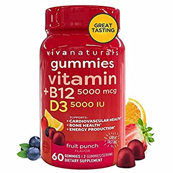 Vitamin B12 5000mcg and Vitamin D3 5000 IU Gummies 60 Count   Delicious Fruit Punch Flavor Vitamin D and Methyl B12 Vitamins for Energy and Immune Support