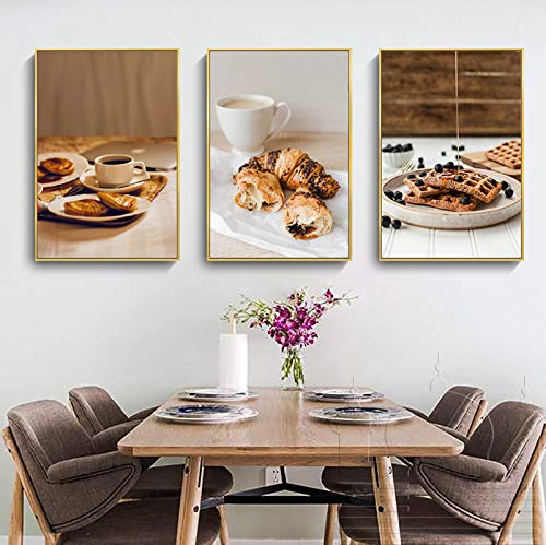 Wall Art Schilderijen Schilderen van het Canvas Restaurant Opknoping Picture Pastry Brood Gourmet Kitchen 3pack 30x40cm