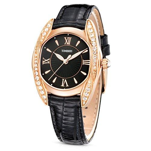Time100 Orologio Donna al Quarzo Cinturino in Pelle Moda e Elegante#W80106L (Nero)