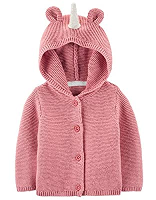 Carter's Baby Girl Unicorn Hooded Cardigan 18m Pink