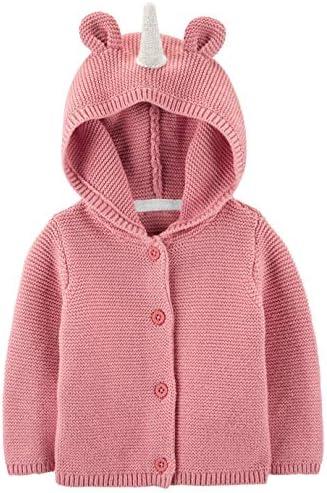 Carter s Baby Girl Unicorn Hooded Cardigan 24m Pink product image