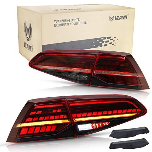 VLAND Rückleuchten für GOLF 7 7.5 MK7 MK7.5 GTD TSI TDI 2013-2020 Lightbar Heckleuchten,mit Dynamik Blinker,Mit E-Prüfzeichen,DRL Technik Rücklichter,Rot