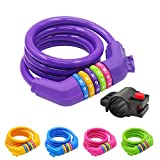 IDEALUX Sport Bike Lock Cable, 4-Feet Bicycle Master Cable Lock with 5-Digit Combination Lightweight Bike Chain Lock - Purple
