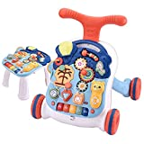 GMAXT Sit-to-Stand Learning Walker,2 in 1 Educational Push Toy for Babies,Lighting and Music, Story Phone, Piano, Educational Toys,Baby Music Toy Set-Kids Educational Games (White)