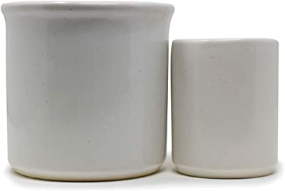 The Himalayan Goods Company - Set of Cylindrical Stoneware Ceramic Indoor Outdoor Planter Plant Pot Container (White)