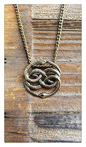Neverending Story Collier en bronze antique Auryn, long ras du cou, pendentif serpent sans fin histoire, collier serpent
