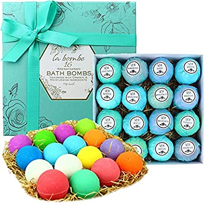 Bath Bombs Gift Set for Men & Women 16 Lush Moisturizing Bathbomb Spa Set with Essential Oils and Organic Ingredients. Best Gift Idea for Holidays for Women, Men & Kids!