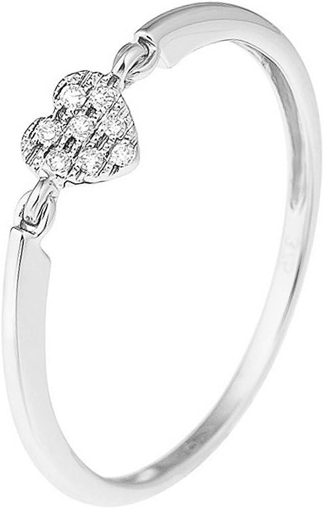 & you - anello da donna a forma di cuore, diamante da 0,032 carati, disponibile in oro giallo e oro bianco