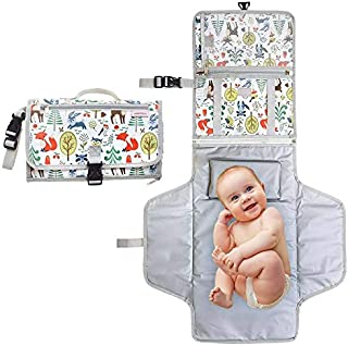 Amzia Portable Changing Pad – Detachable Unisex Waterproof Baby Changing Mat withPacifier Clip Included – Complete Portable Diaper Changing Station