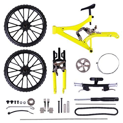 NFtop DIY Fahrrad Modell Spielzeug, 3D Rennrad Miniatur Fahrrad Dekoration - Gelb 0611