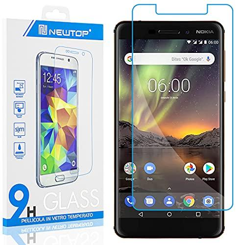 N NEWTOP [1 PEZZO] Pellicola GLASS FILM Compatibile con Nokia 6.1, Fina 0.3mm Durezza 9H Vetro Temperato Proteggi Schermo Display Protettiva Anti Urto Graffio Protezione